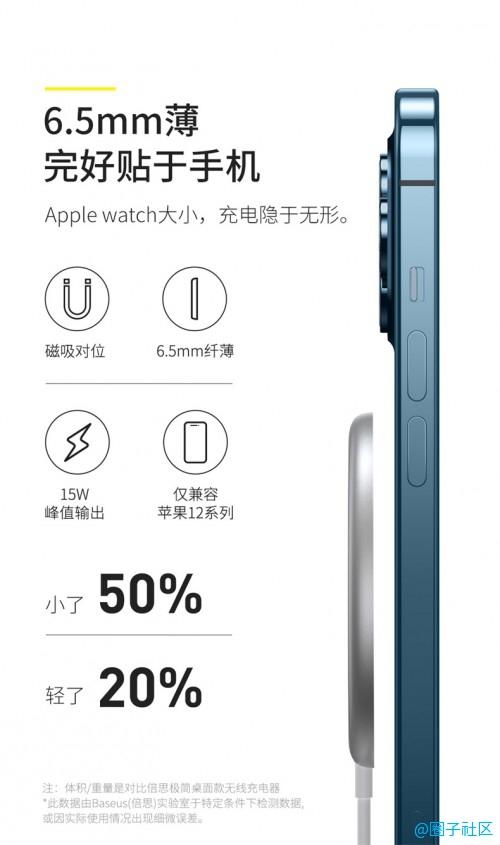 倍思极简Mini磁吸无线充电器上市:苹果12的贴身好搭档