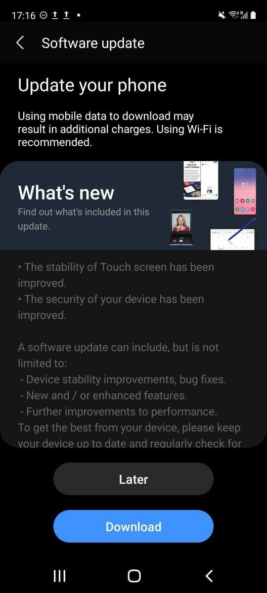 三星 Galaxy S20 FE 5G 发布 4 月安全补丁更新,将修复触控问题插图